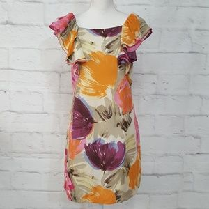 BCBG 100% Silk Floral Dress Size 6